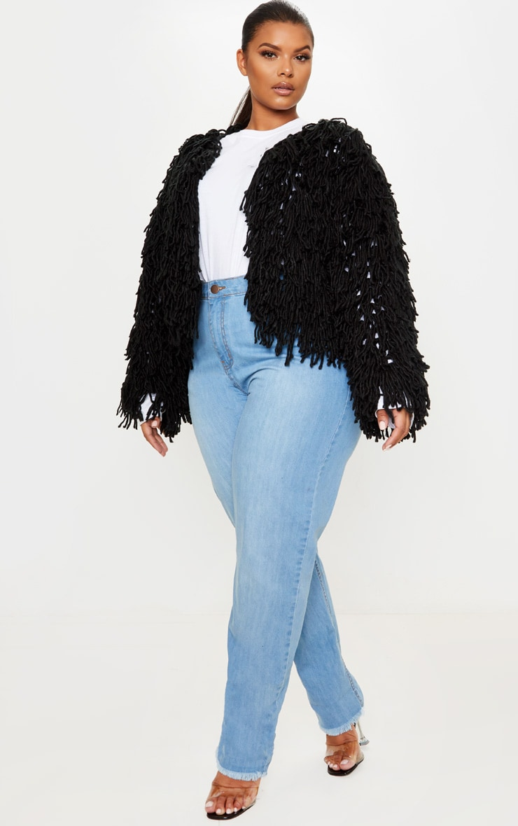 Plus Black Shaggy Knit Cropped Cardigan 4