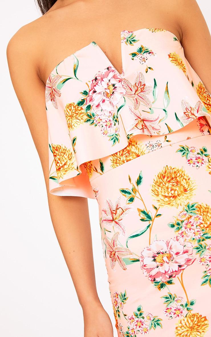 Norie Nude Floral Bandeau Midi Dress 5