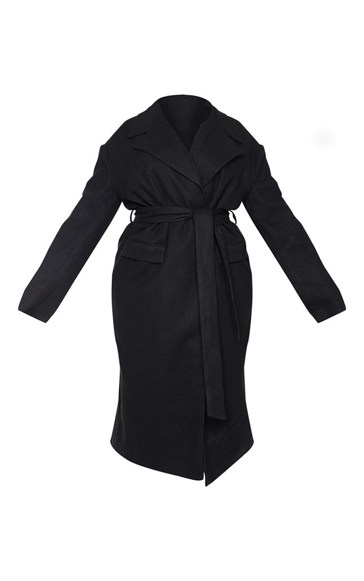 Plus Black Oversized Tie Waist Midi Coat 5