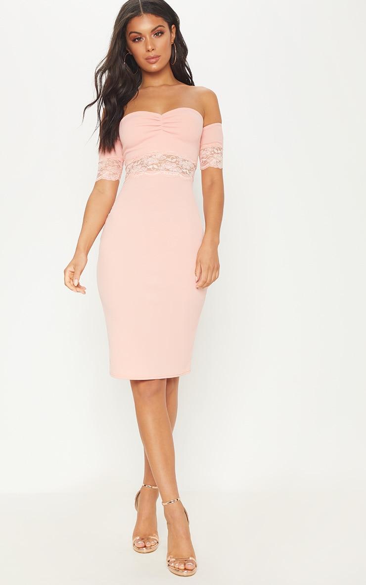 Peach Lace Trim Bardot Midi Dress