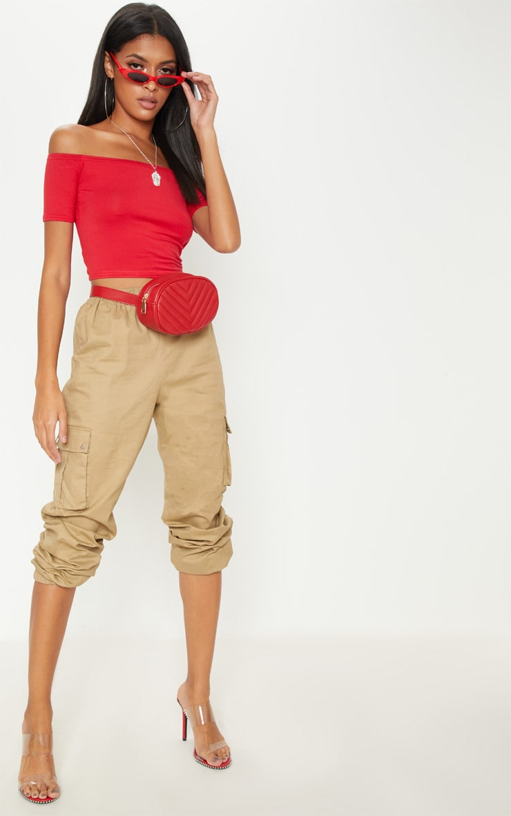 Basic Red Bardot Crop Top 4