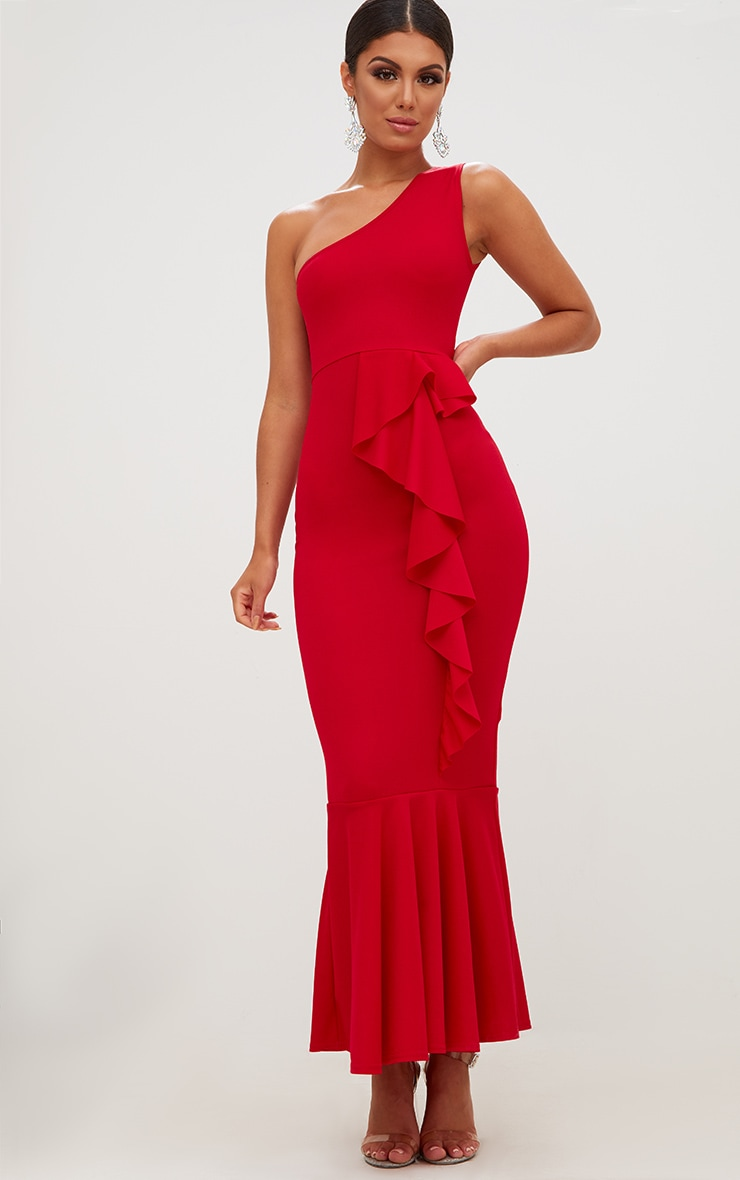 Red Ruffle Detail One Shoulder Midaxi Dress 1