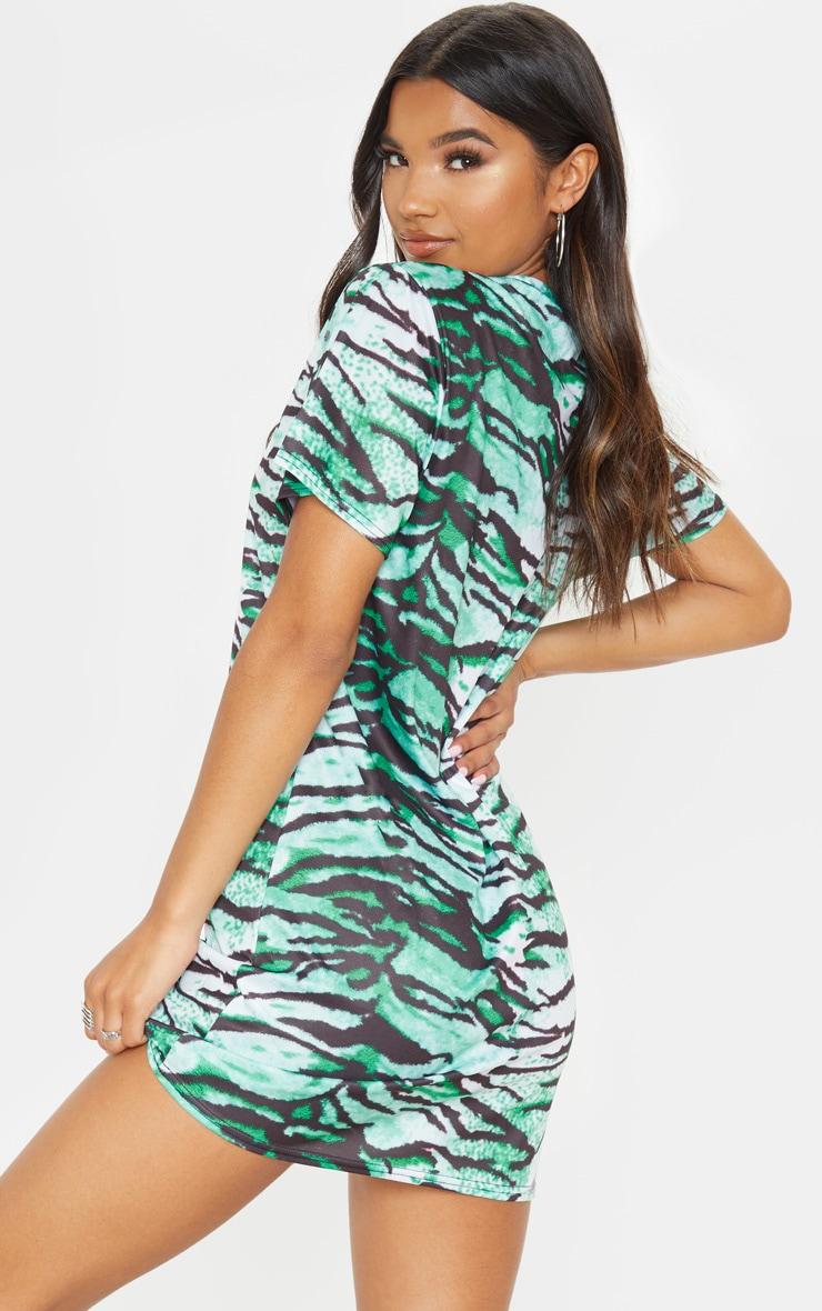Green Tiger Print T Shirt Dress 2