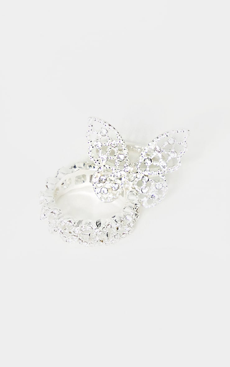 Silver Diamante Butterfly Ring 2
