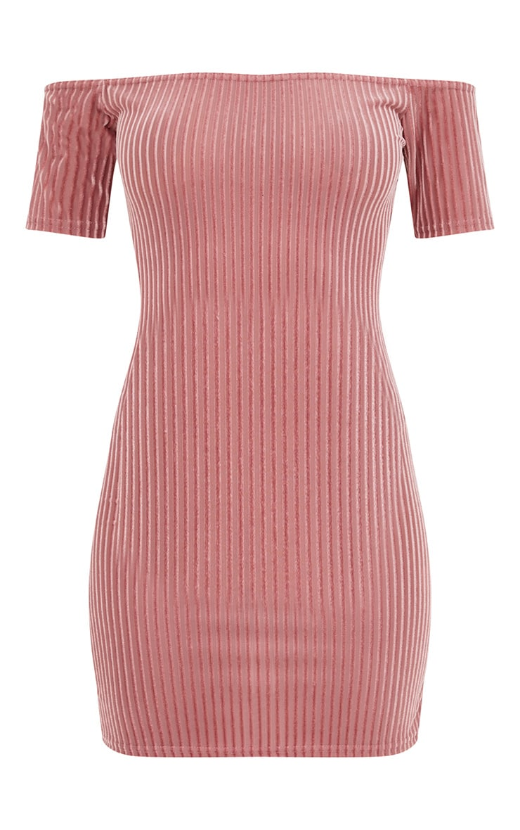 Rose Striped Velvet Bardot Bodycon Dress 3