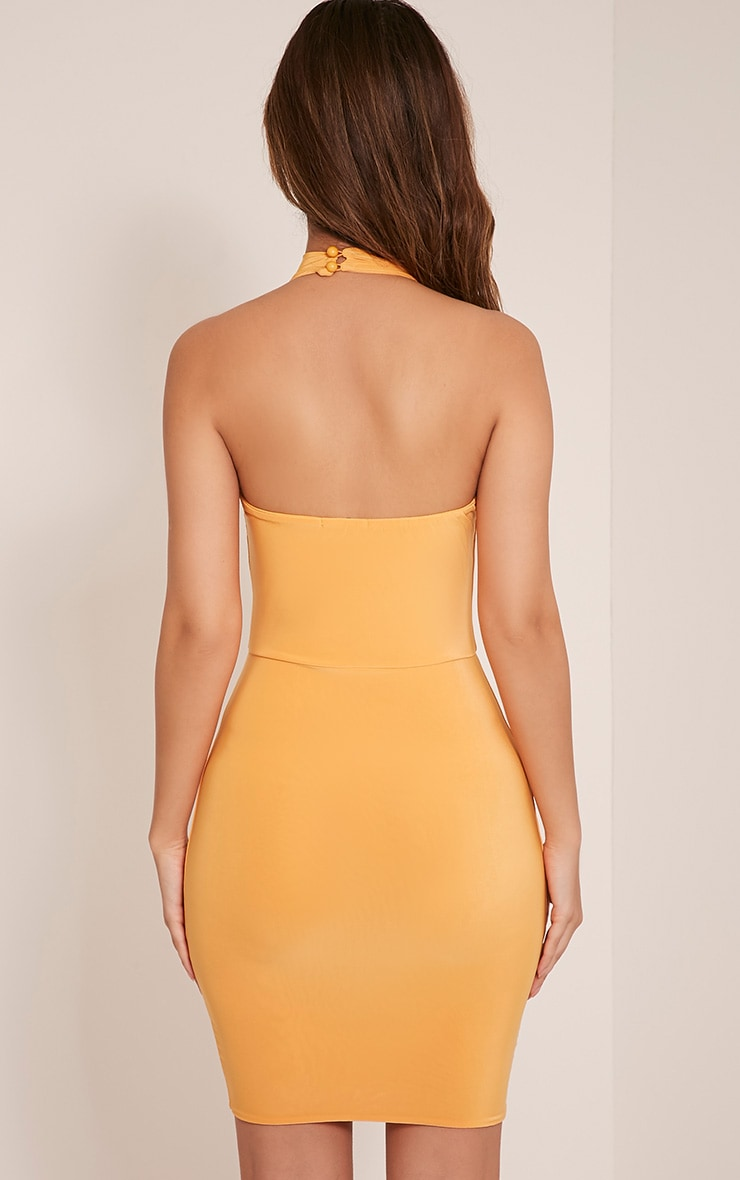 Gabby Pastel Orange Choker Cross Front Bodycon Dress 2