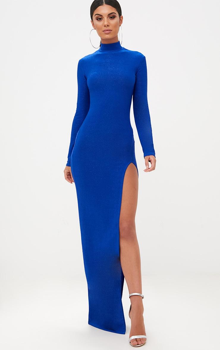 Cobalt Blue High Neck Glitter Side Split Maxi Dress 1