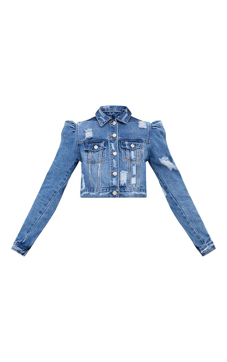 Mid Wash Extreme Shoulder Cropped Denim Jacket 3