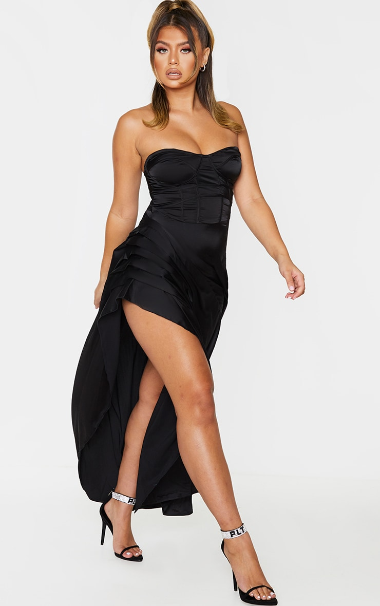 Black Satin Binding Detail Corset Maxi Dress 3