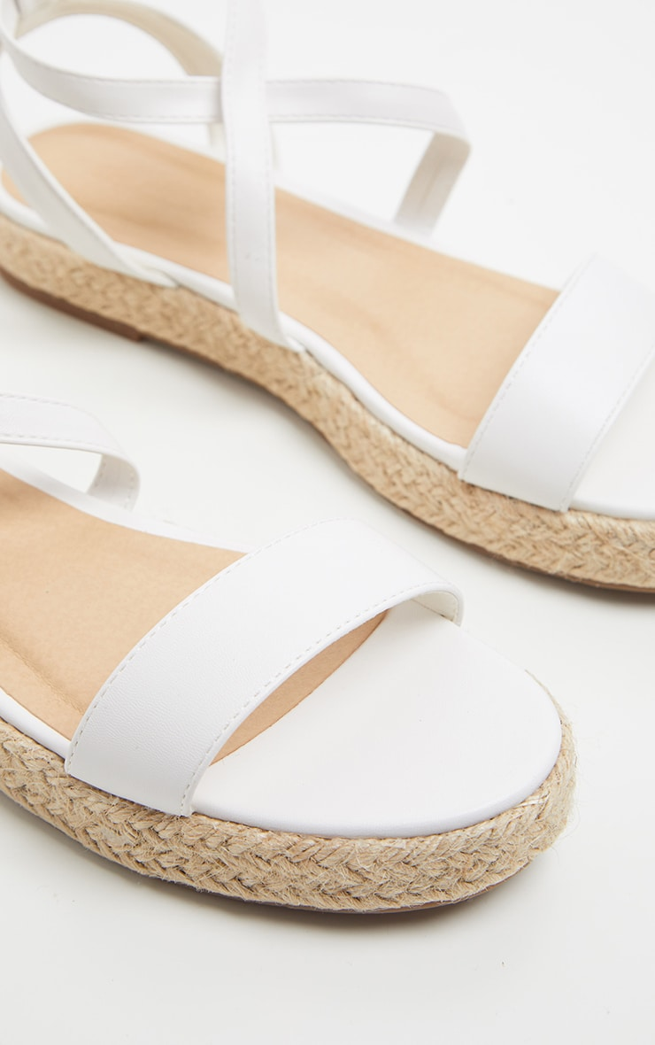 White Lace Up Espadrille Flatform Sandal 3