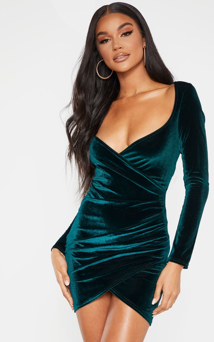 Emerald Green Velvet Long Sleeve Wrap Detail Bodycon Dress 1