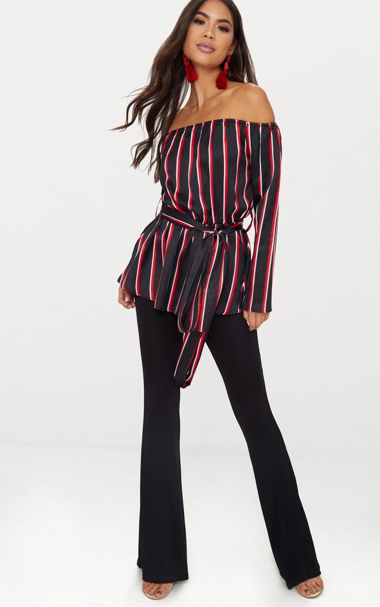 Black Bardot Tie Waist Blouse  4