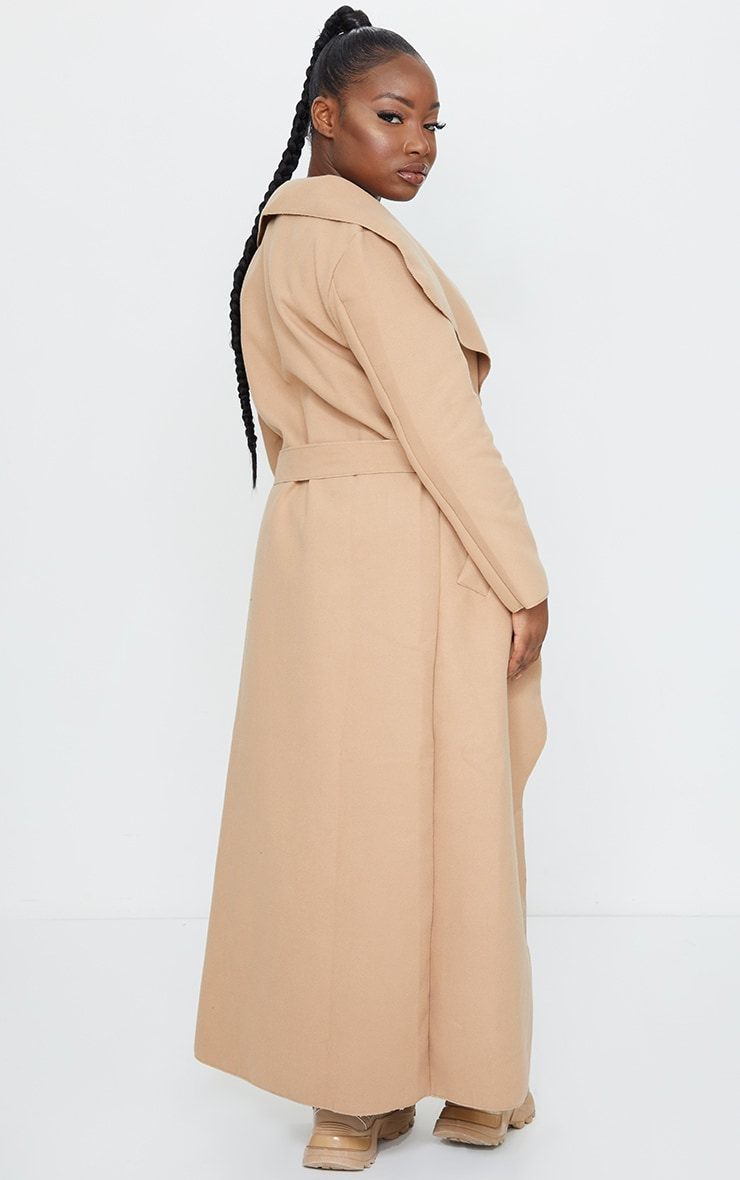 Petite Camel Maxi Length Oversized Waterfall Belted Coat 2
