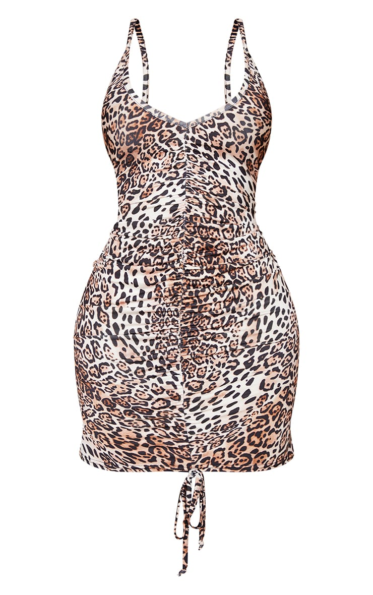 Shape Brown Leopard Print Slinky Ruched Front Strappy Bodycon Dress 5