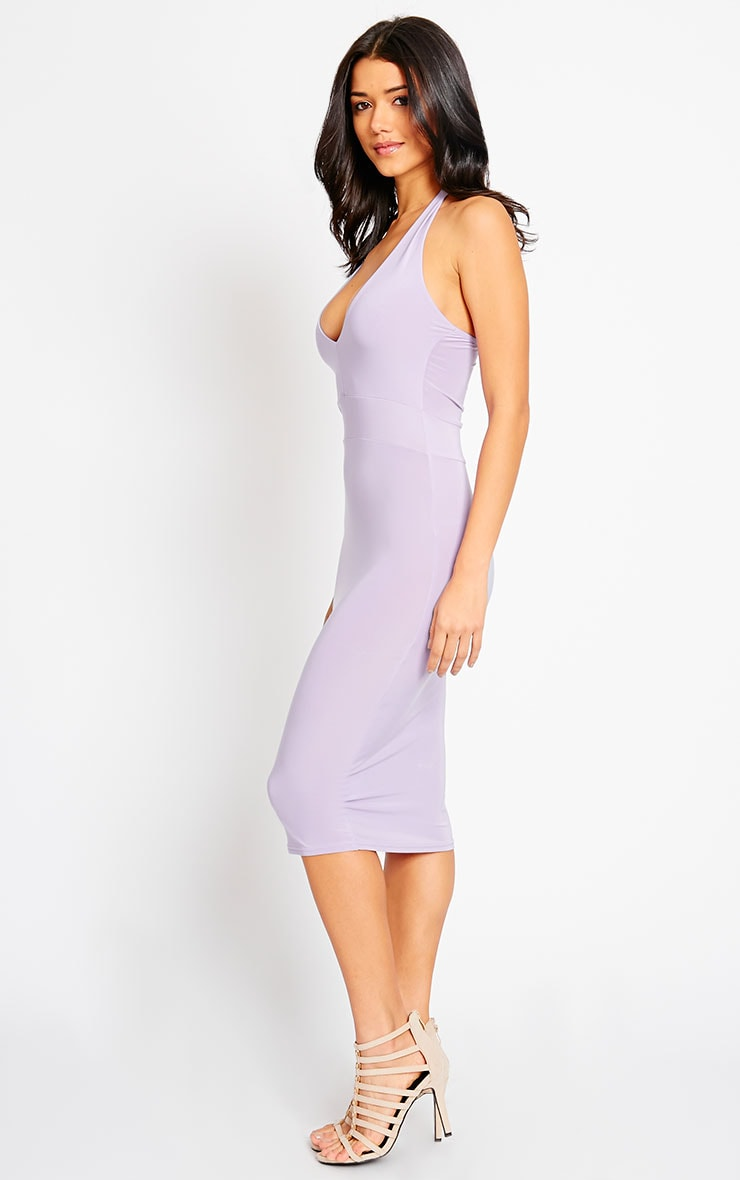 Lilly Lilac Slinky Halterneck Midi Dress 3