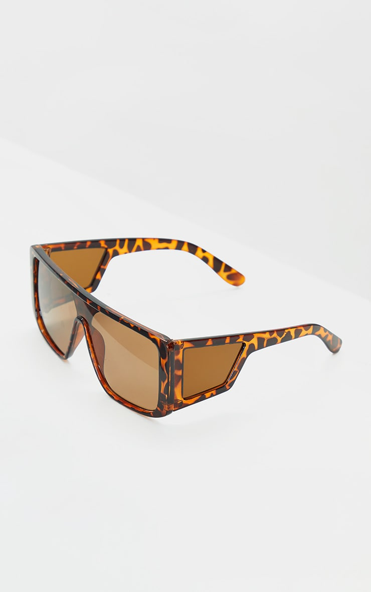 Brown Tortoise Oversized Triple Lens Square Frame Sunglasses 4