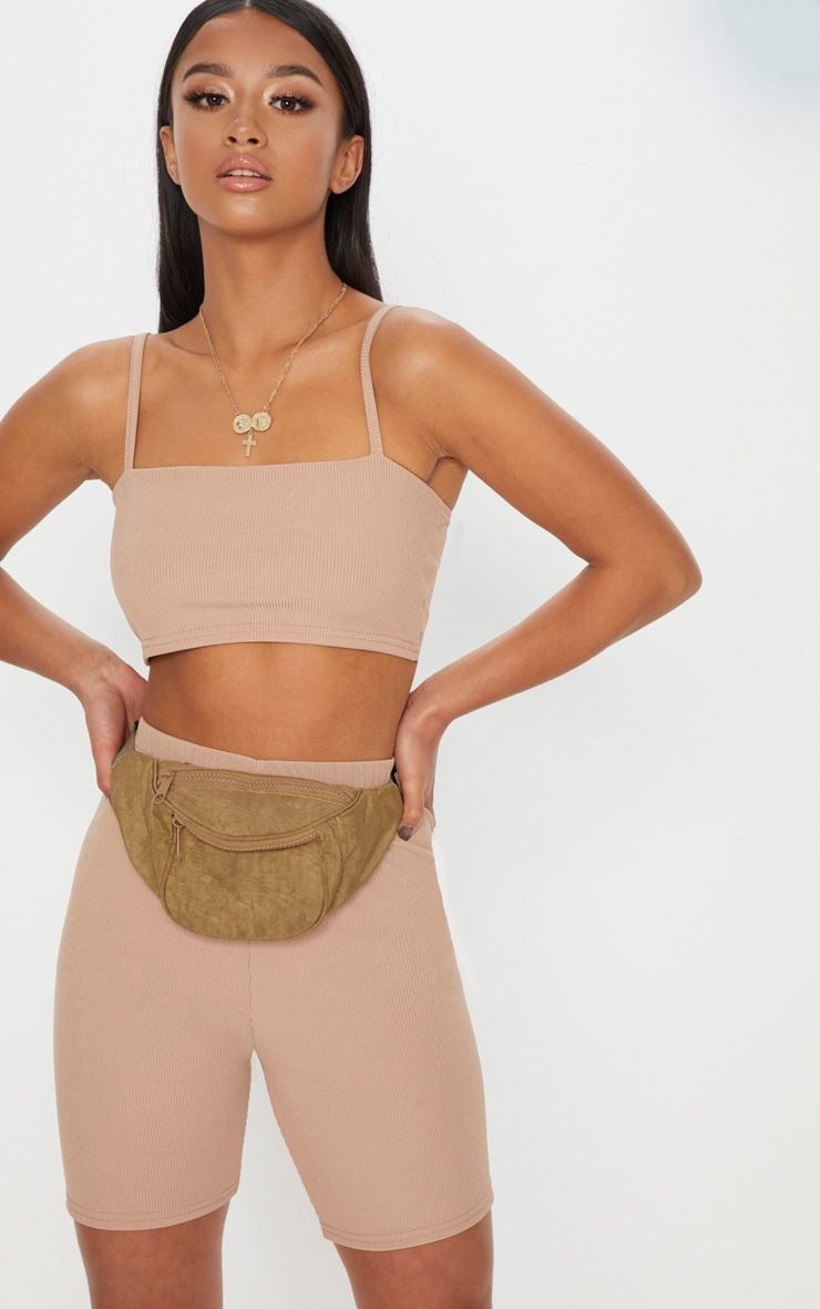 Petite Stone Ribbed Strappy Crop Top 1