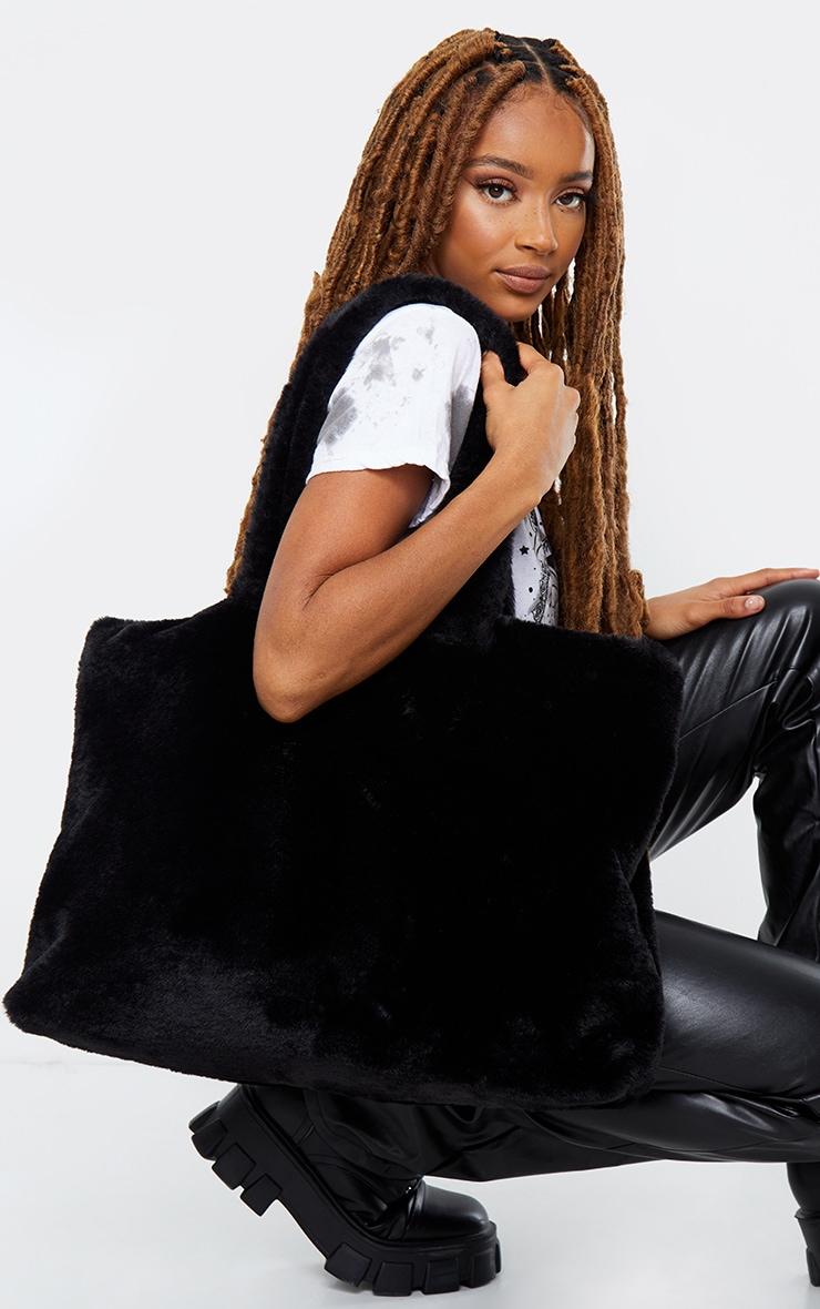 Black Oversized Fur Tote Bag 1