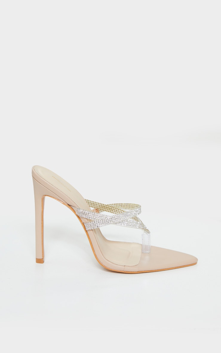 Nude Point To Clear Diamante Toe Through Strap Heels 4