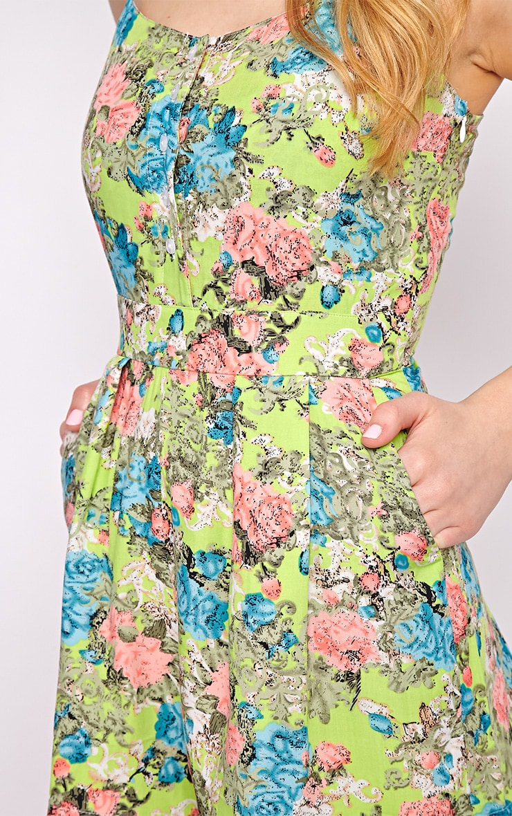 Carrie Green Floral Playsuit  3