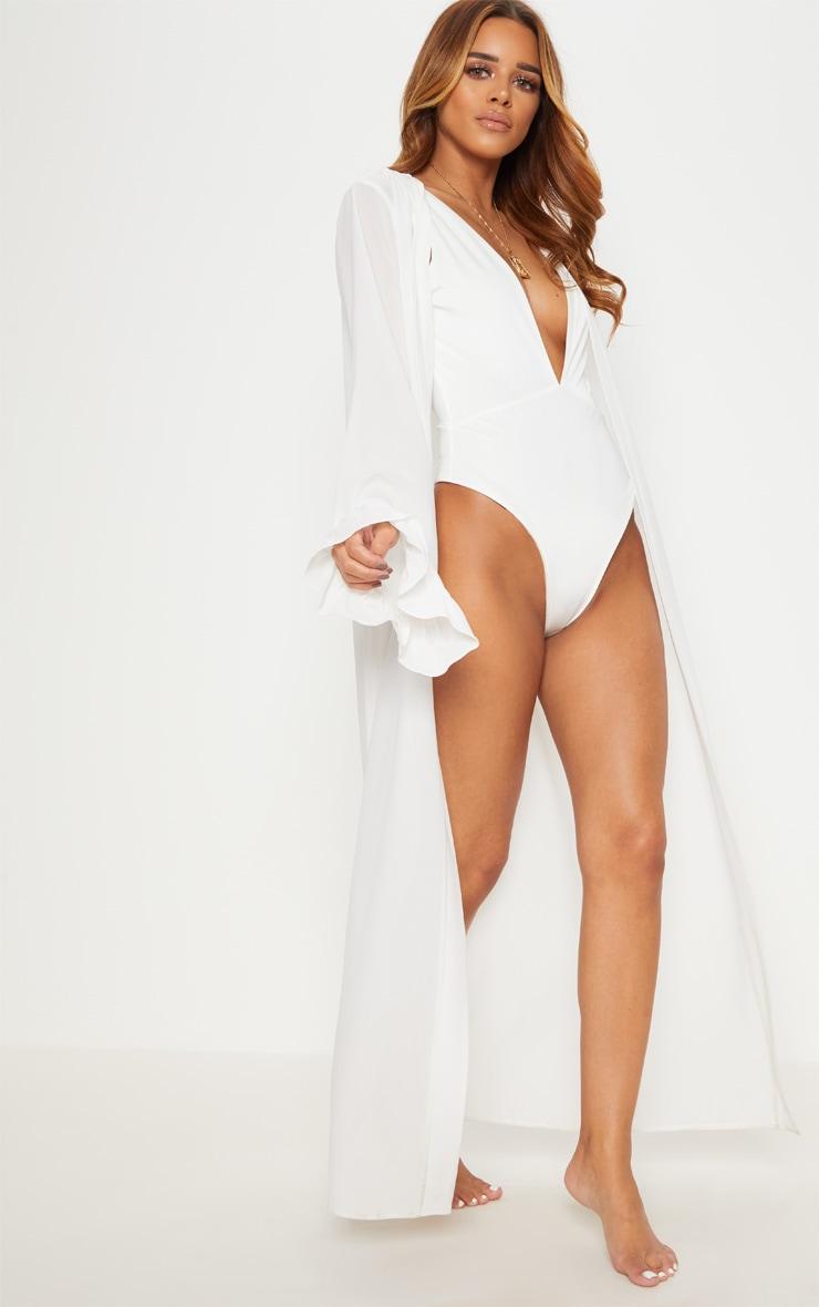 Petite - Kimono blanc à manches volantées 4