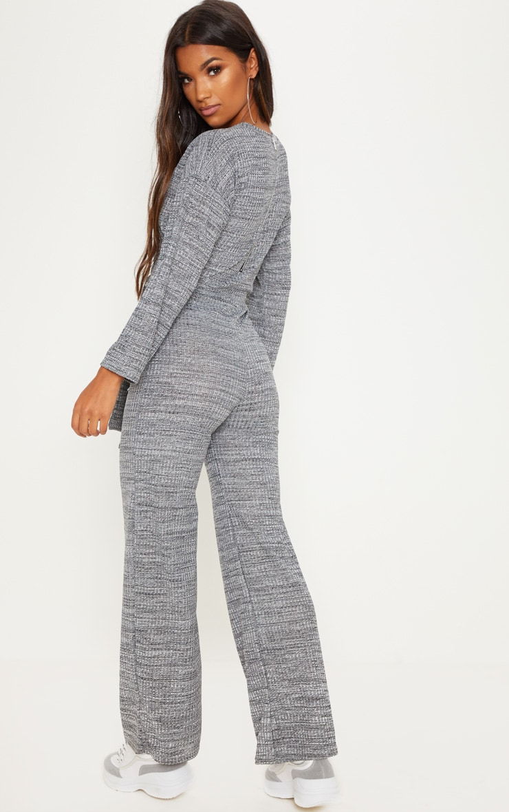 Grey Rib Crew Neck Long Sleeve Jumpsuit 2