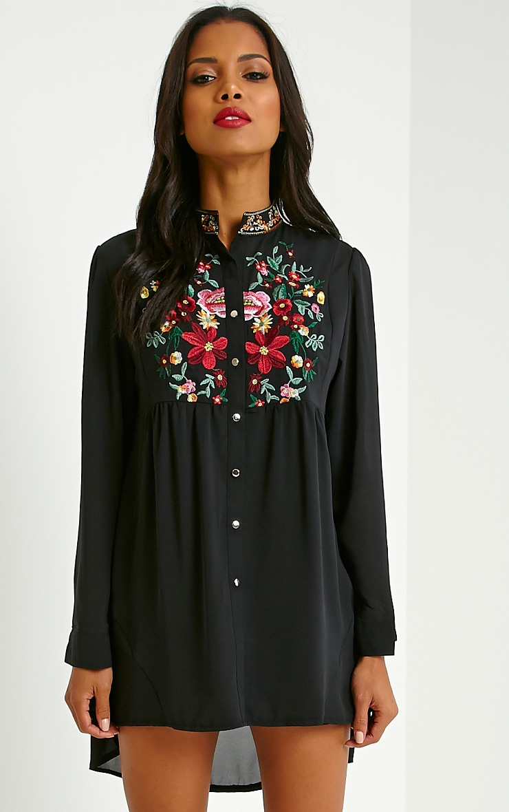 Exie Black Embroidered Sheer Shirt Dress 4