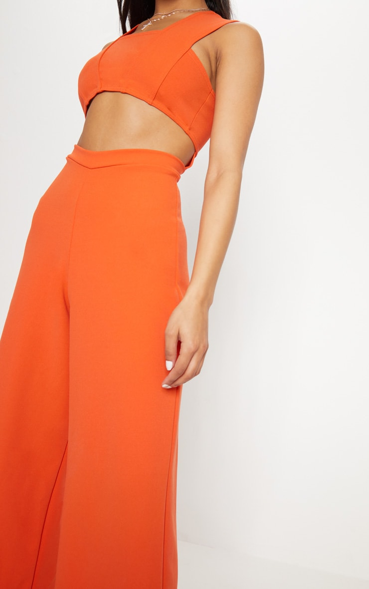 Orange Crepe Cut Out Jumpsuit 5