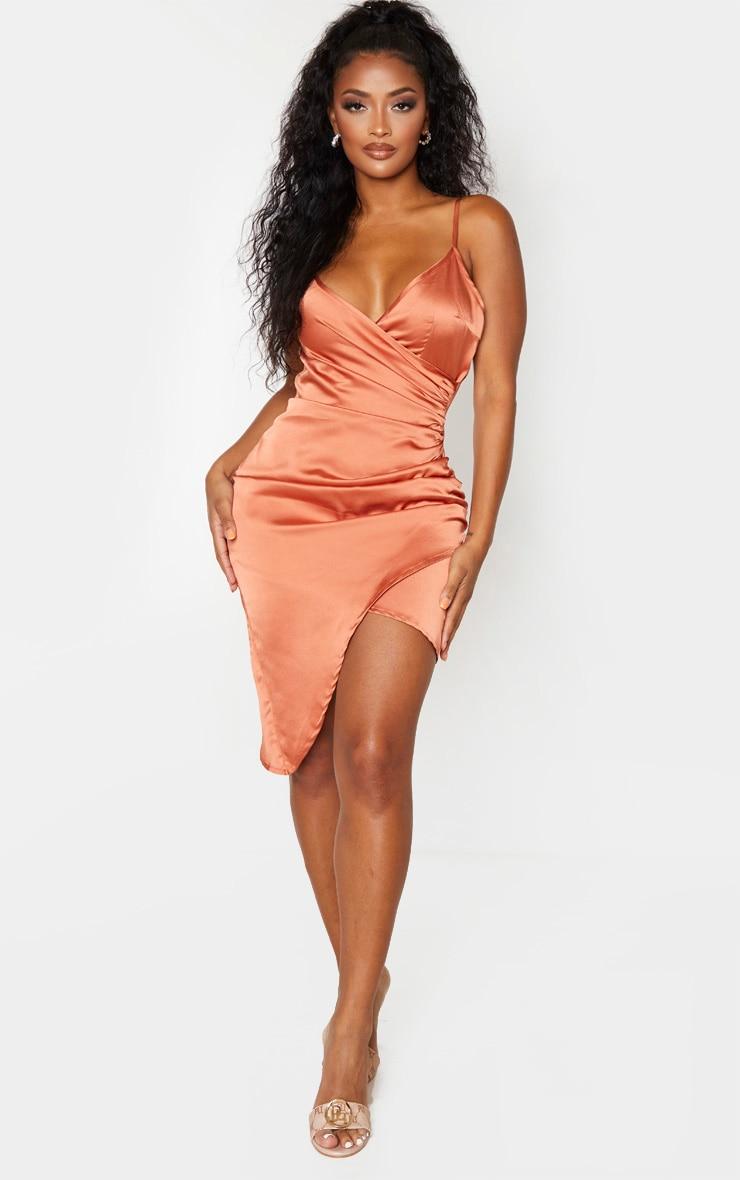 Shape Bronze Satin Wrap Dress 1