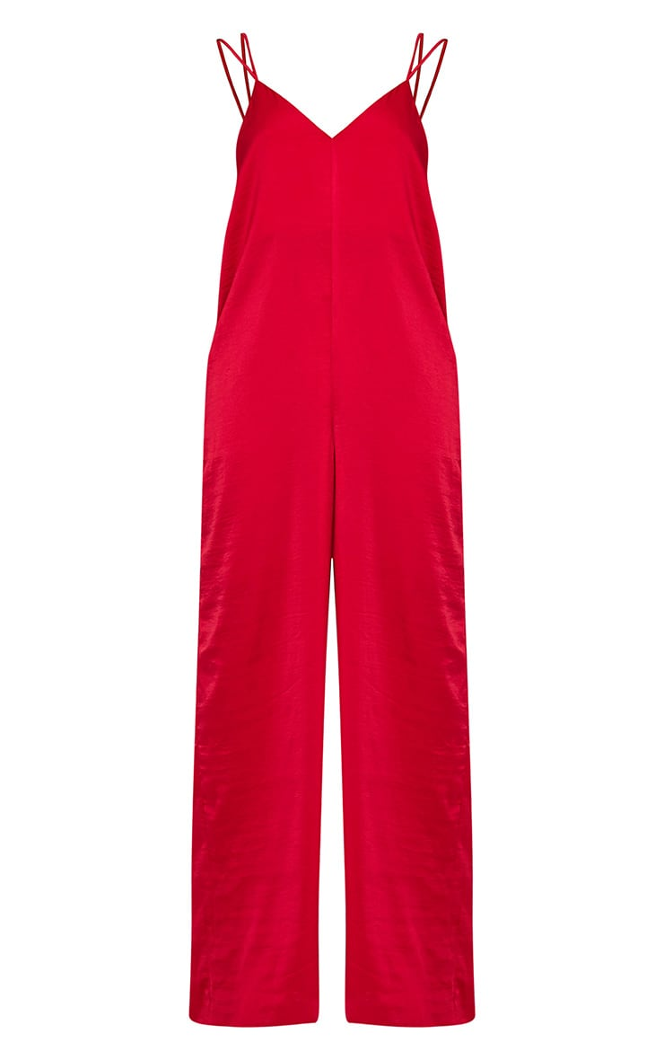 Elisabeth Red Oversized Satin Harness Jumpsuit 3