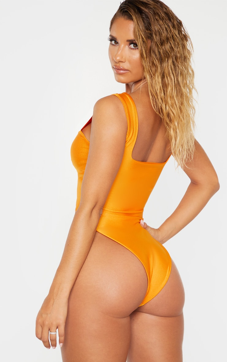 Orange Cut Out Adjustable String Swimsuit 2