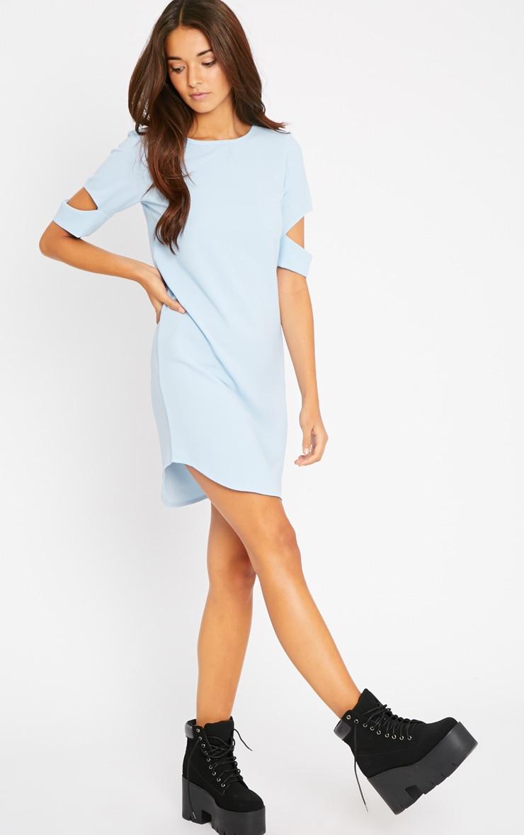Nina Baby Blue Split Sleeve Waffle Shift Dress 3