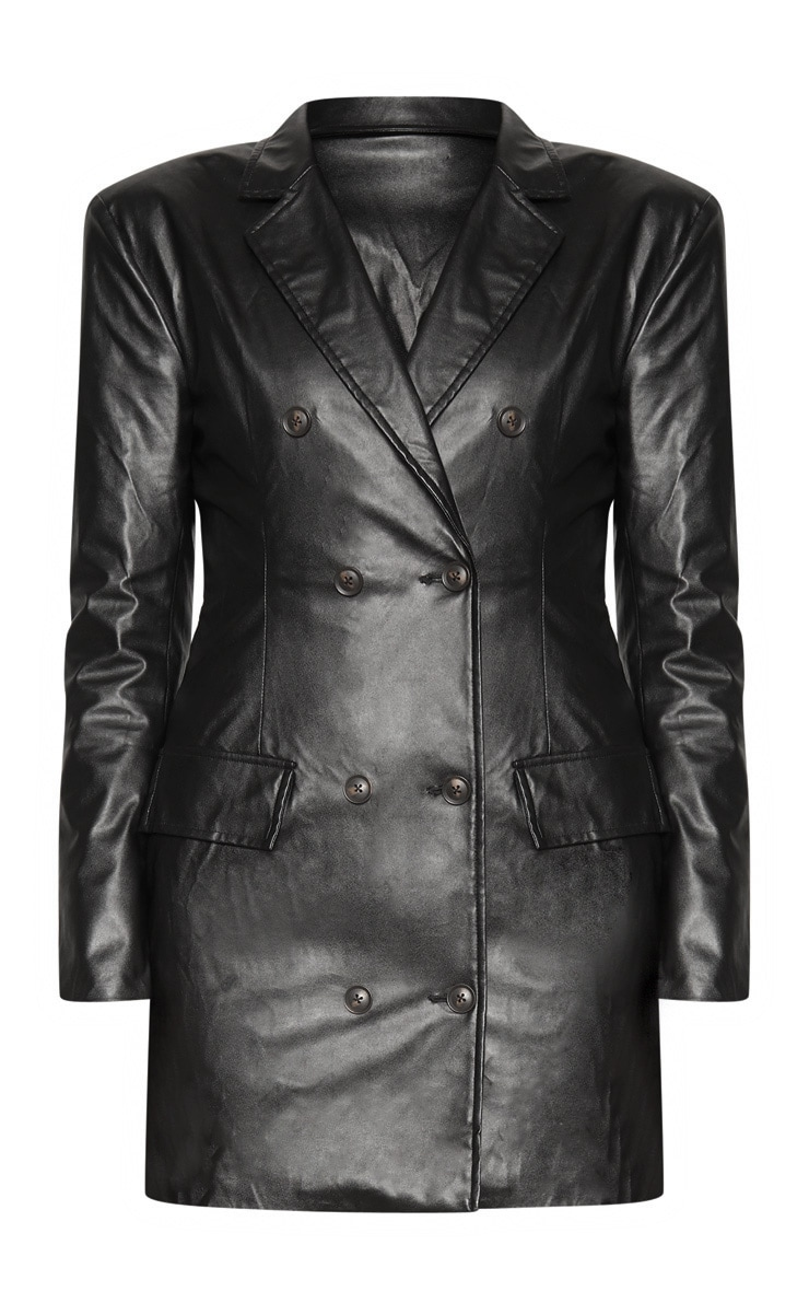 Black Faux Leather Blazer Dress 3