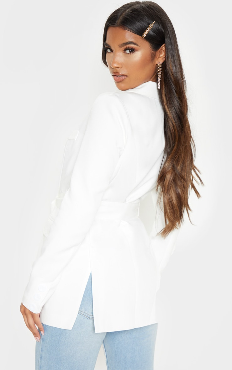 Rebecca Cream Belted Suit Blazer 2