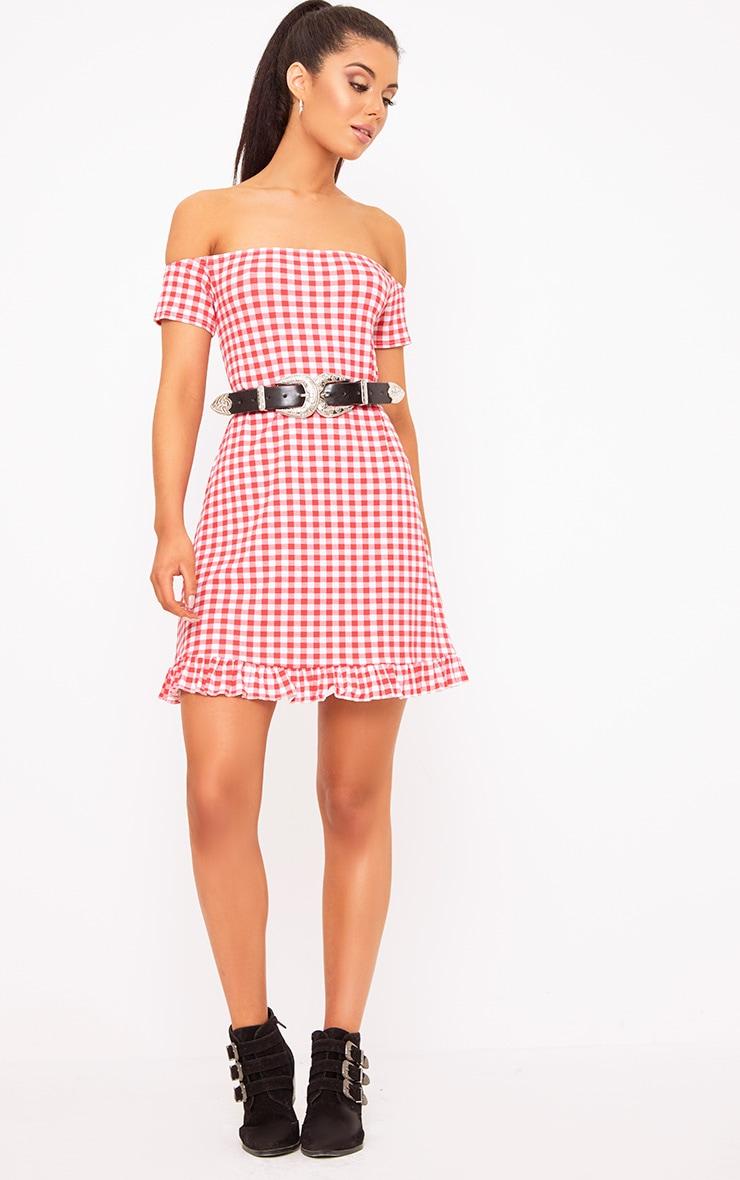 Red Gingham Bardot Frill Hem Swing Dress  4