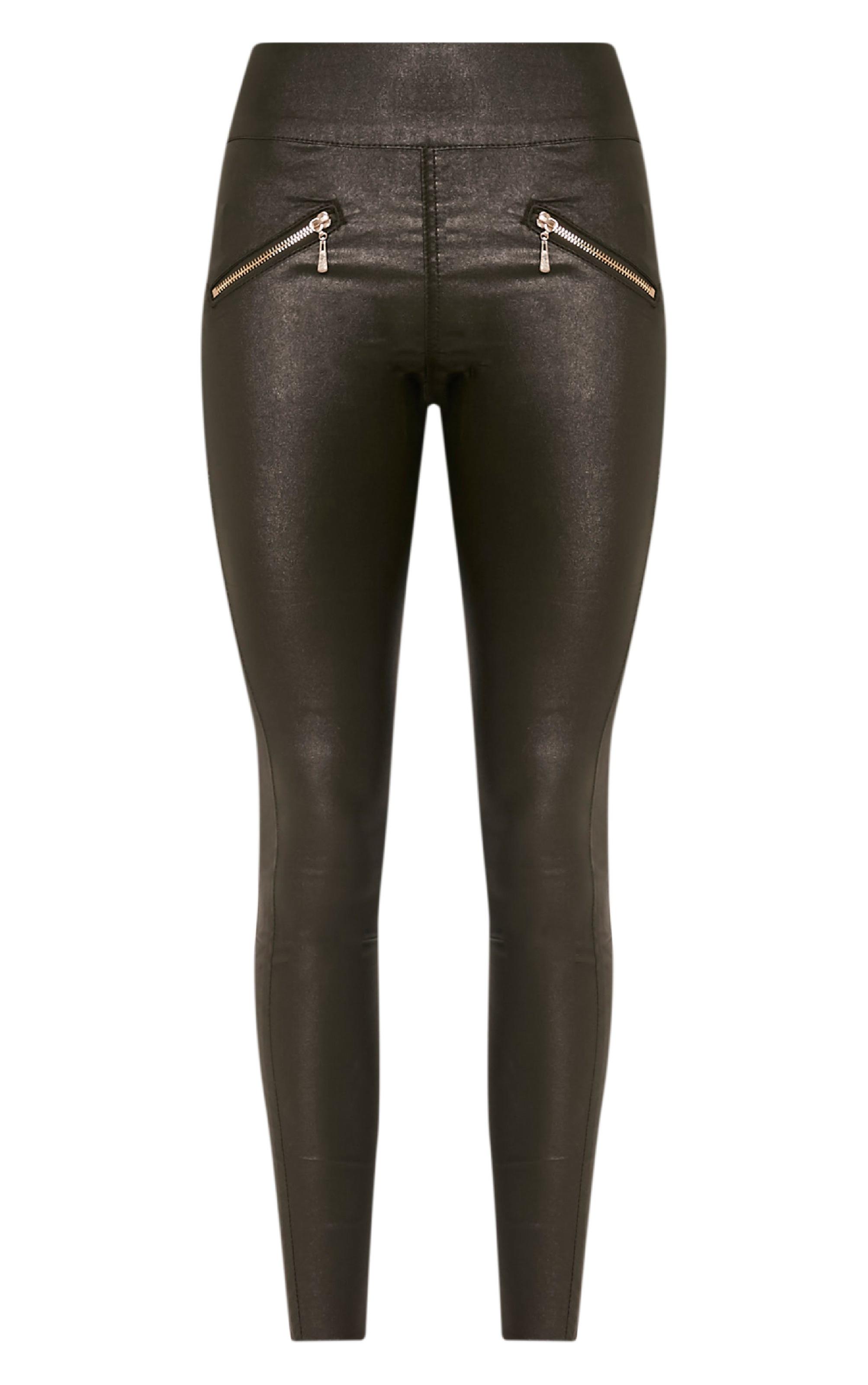 Jamima Khaki Zip Back Super Skinny Coated Trousers 3