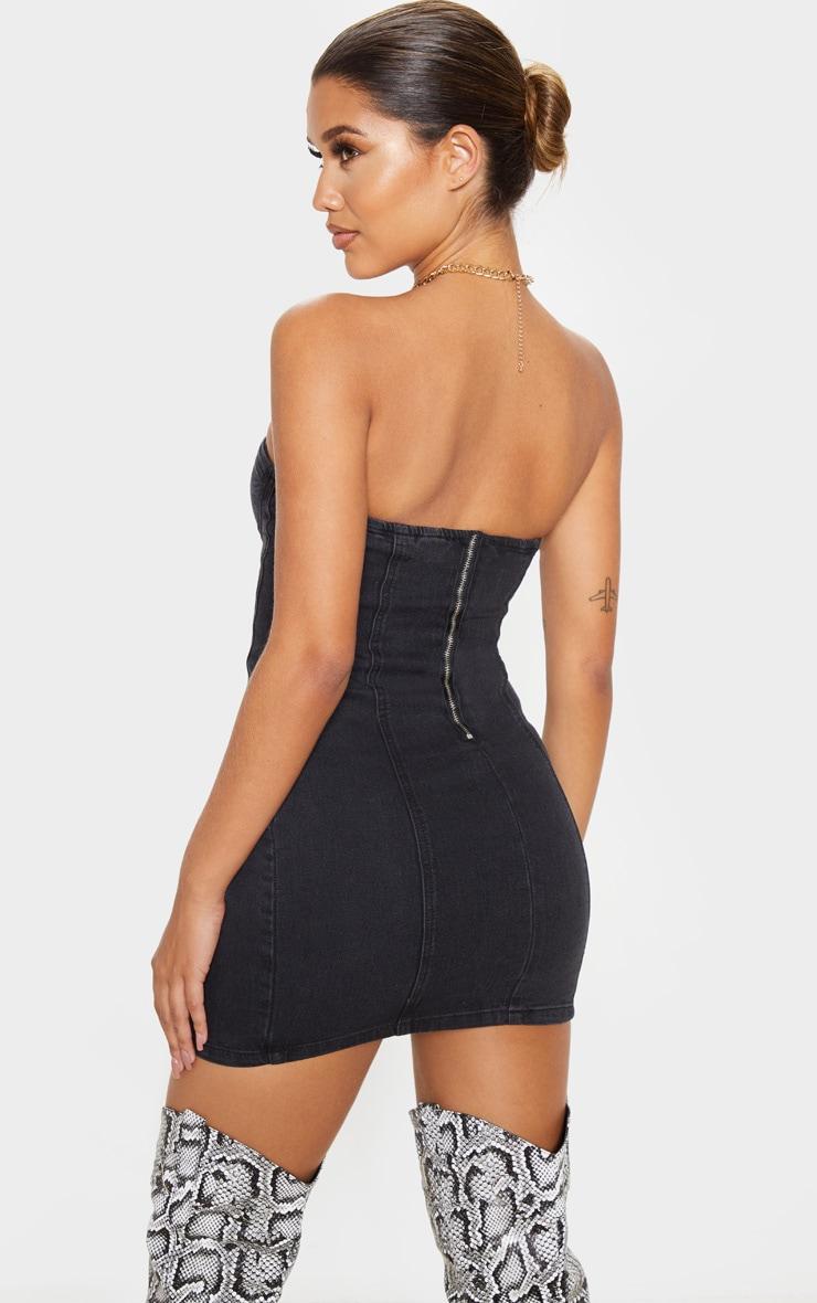 Washed Black Bandeau Denim Dress 2