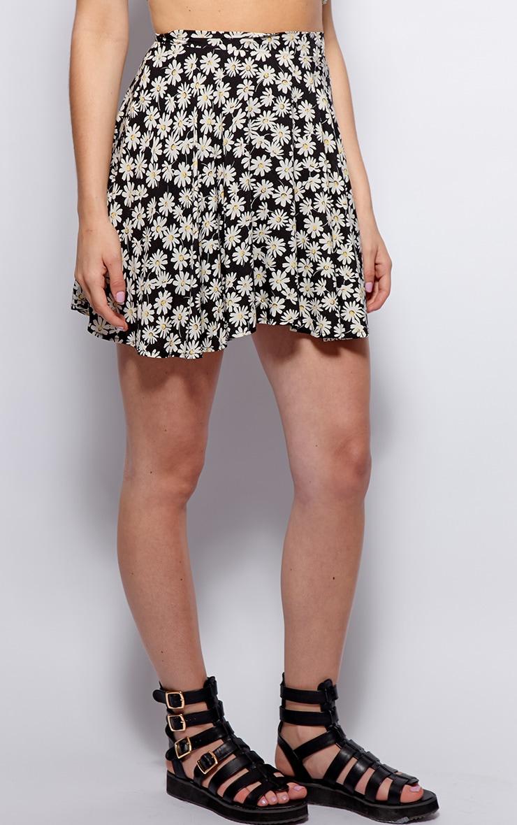 Kara Black Daisy Print Skirt 3