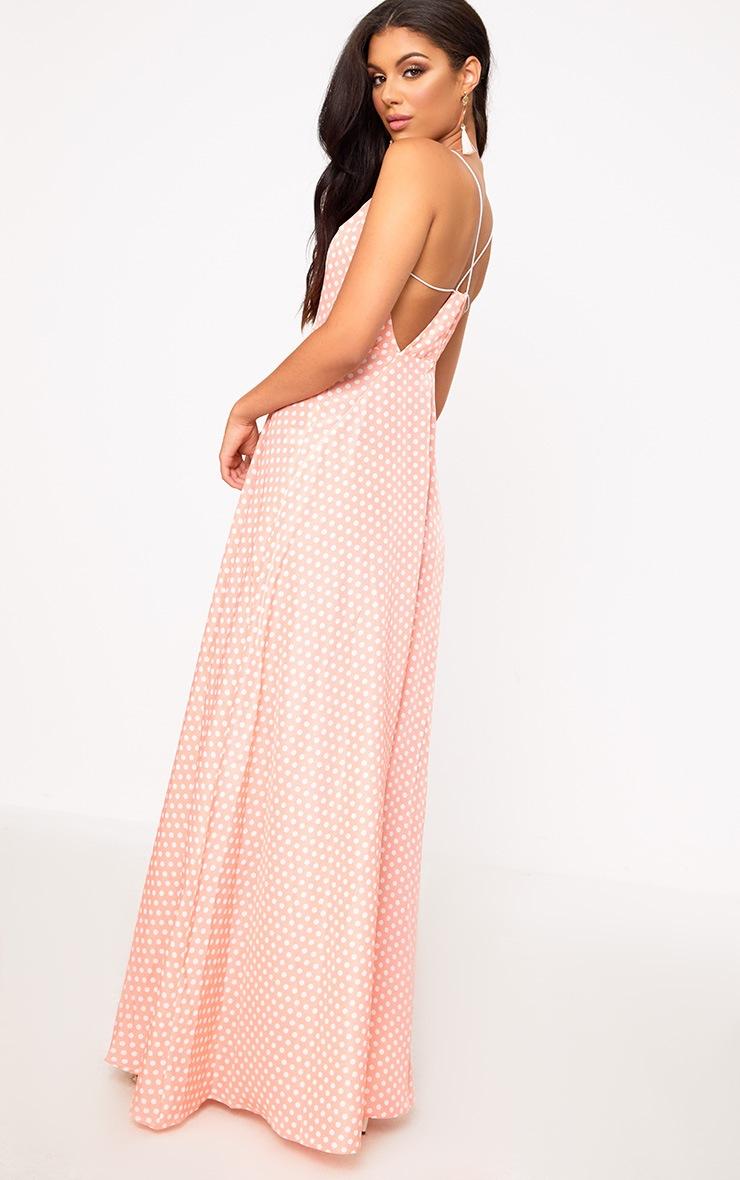 Pink Polkadot Extreme Split Strappy Back Maxi Dress 2