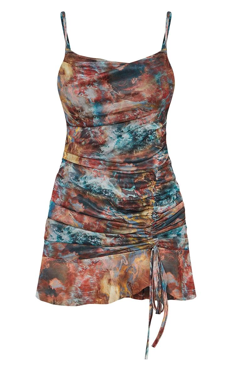 Multi Tie Dye Print Mesh Ruched Bodycon Dress 5