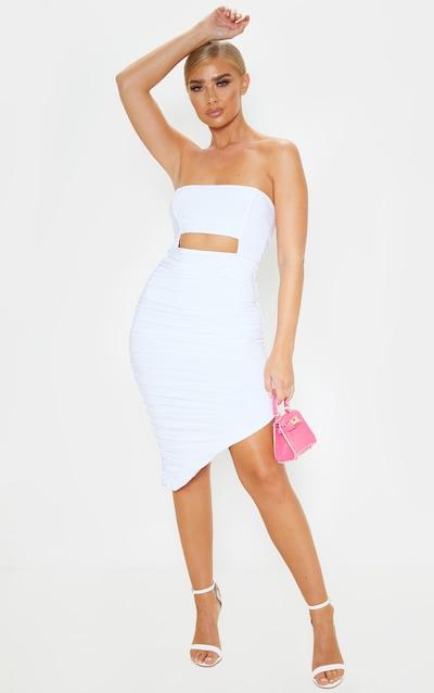 White Slinky Cut Out Bardot Ruched Midi Dress