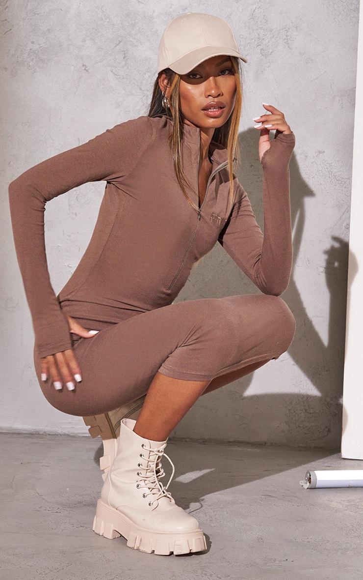 RENEW PRETTYLITTLETHING Light Chocolate Slogan Zip Front Long Sleeve Midi Dress 3