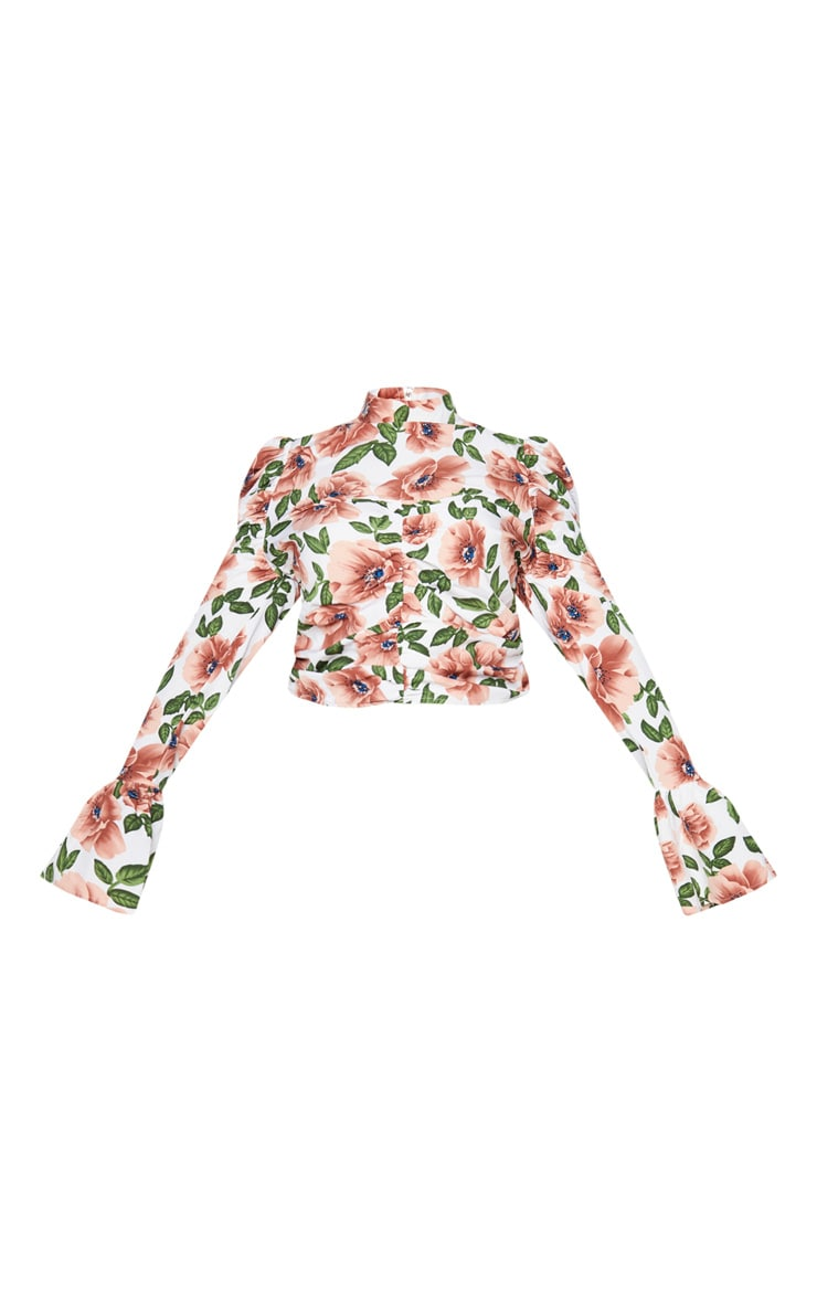 Plus Nude Floral Ruched High Neck Blouse 5