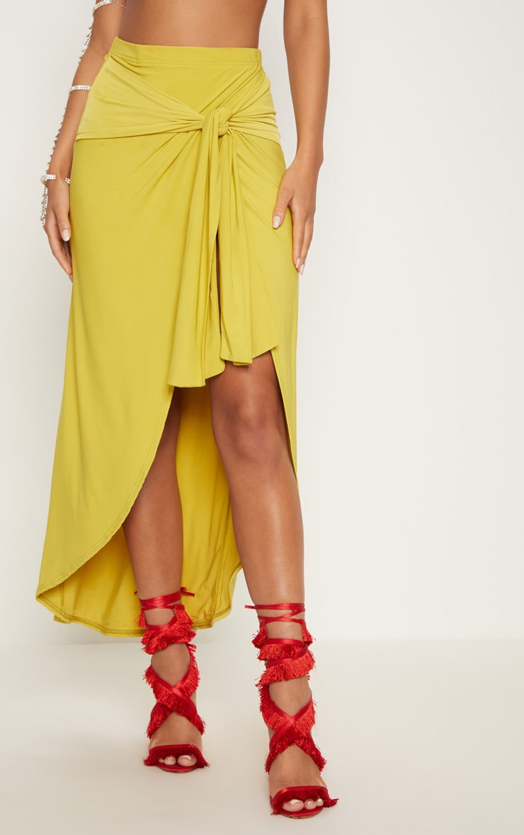 Lime Slinky Wrap Knot Front Midaxi Skirt 3