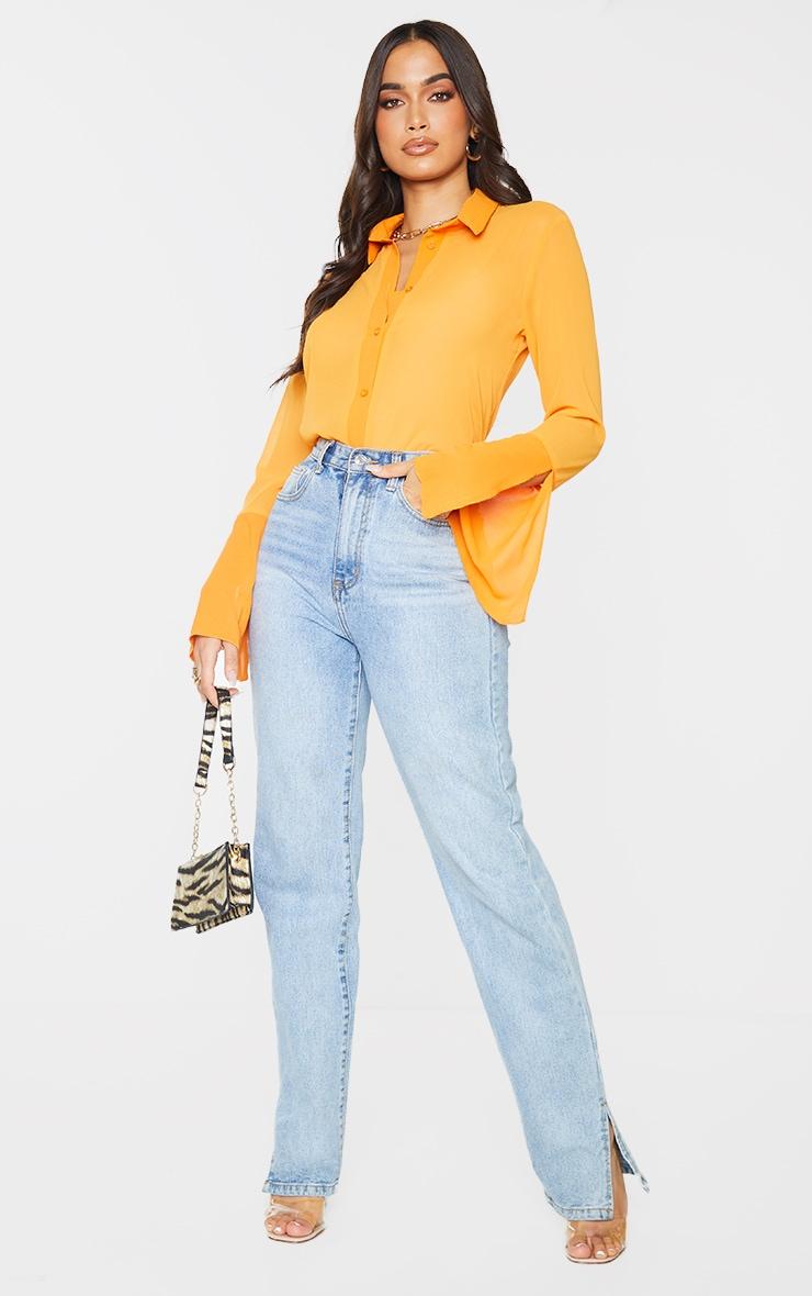 Orange Sheer Chiffon Shirt 3