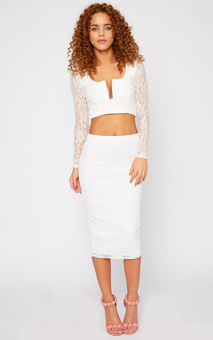 Danita Cream Lace Sweetheart Plunge Crop Top  3