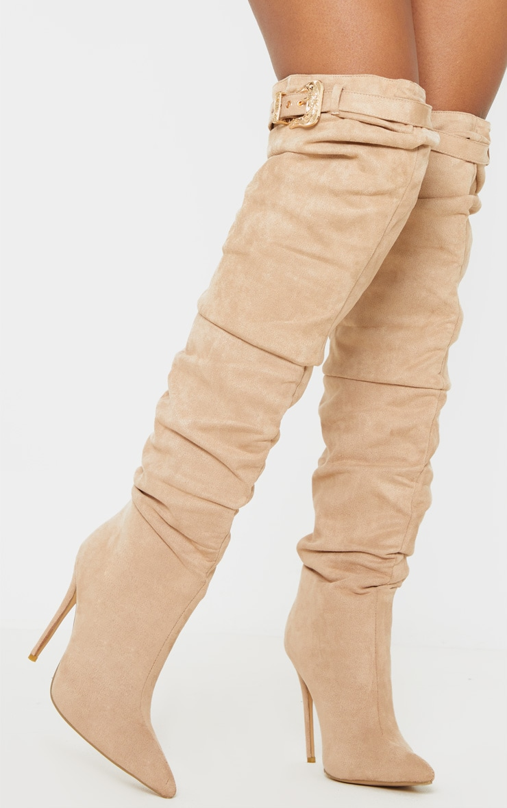 Nude Western Buckle Thigh High Slouch Boot 1