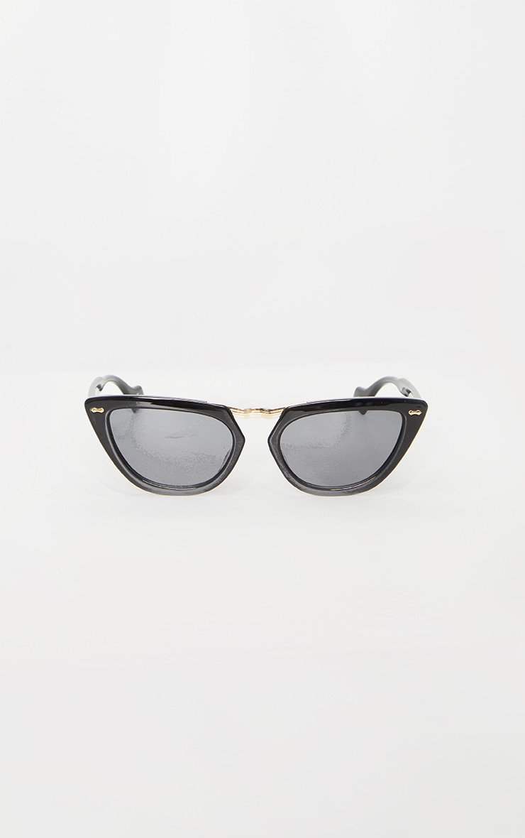 Black With Gold Bar Chunky Cat Eye Sunglasses 2