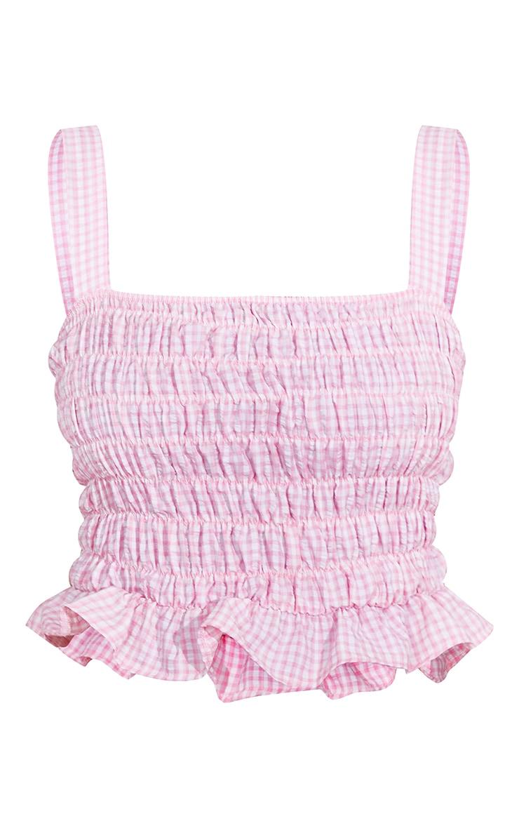 Pink Seersucker Gingham Ruched Cami Top 5