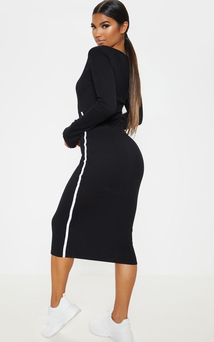 Black Rib Contrast Trim Cut Out Long Sleeve Midi Dress 2